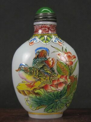 Fine Chinese Mandarin Duck Hand Painted Peking Enamel Glass Snuff Bottle