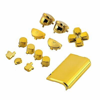Chrome Golden Housing Shell Parts Kit Replacement for PlayStation4 Controller