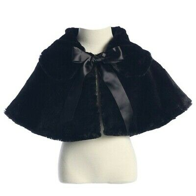 Sweet Kids Baby Girls Black Fluffy Faux Ribbon Closure Cape 9-24M