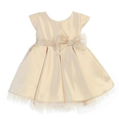 Sweet Kids Baby Girls Champagne Satin Full Pleated Bow Christmas Dress 6-24M