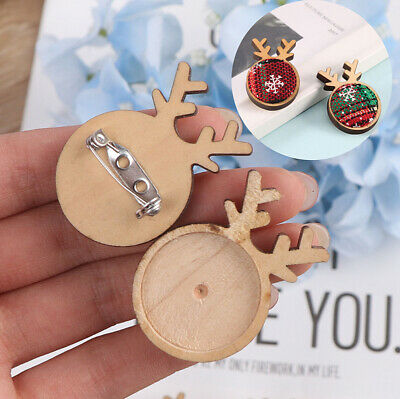 5pcs Christmas Wooden Deer 25mm Round Brooch Base Cabochon Blank Tray withPinsDD