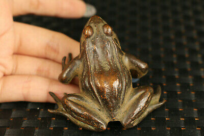 big Chinese old bronze hand cast frog statue figure collectable tea pet ornament