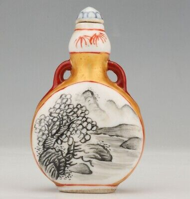 Retro China Porcelain Snuff Bottle Statue Painting Mountain Water