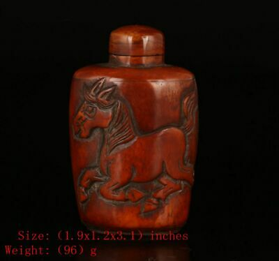 Chinese Cattle B0Ne Snuff Bottle Embossed Horse Unique Christmas Gift