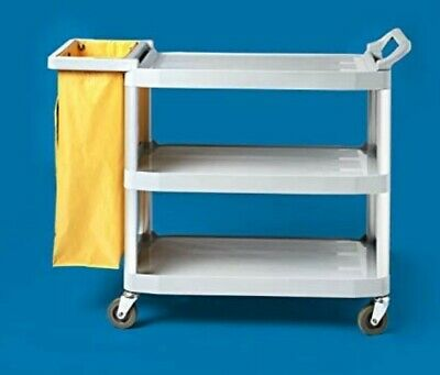 Commercial Cleaning Cart With Zipper Bag And Shelves