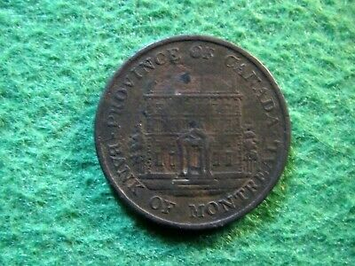 1842  Canada Province Half Penny Token - Bank Montreal - Free U S Shipping