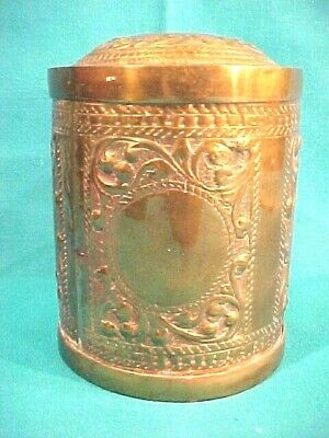 ORIGINAL 19th CENTURY  BRASS SNUFF OR TOBACCO JAR ALL HAND CHASED HAND ENGRAVED
