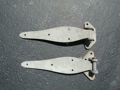 """2 Large Vintage Door Hinges 18"""" Long Mont  7.5 x 3.5"""" Weight each About 5 Lbs"""