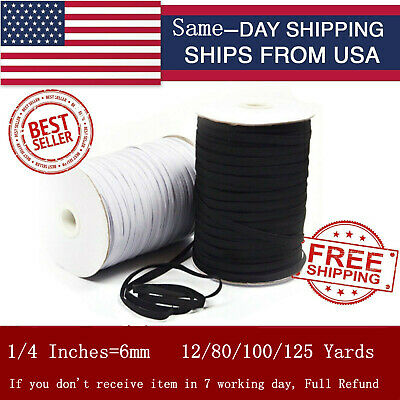 Elastic Band Cord 1/4 inches width (6mm) 12 yard to 125 Yards Sewing For Mask up
