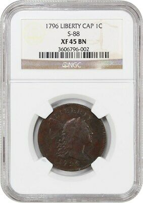 1796 1c NGC XF45 BN (Liberty Cap, S-88) Scarcer Variety - Large Cent