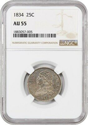 1834 25c NGC AU55 - Great Type Coin - Draped Bust Quarter - Great Type Coin