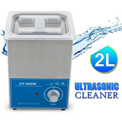 2L Ultrasonic Cleaner 40KHz Ultra Sonic Bath Cleaning Stainless Tank Timer 15min
