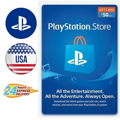 Sony PlayStation PSN $50 USD Network Store Card - USA Store - Fast Delivery
