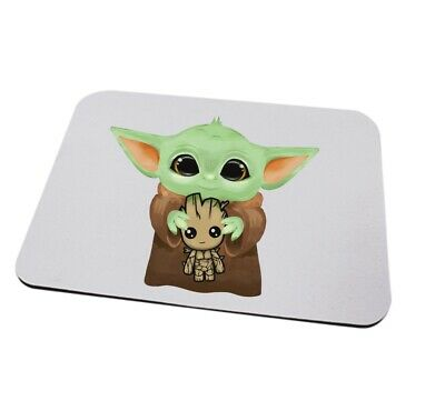 Baby Yoda and Groot mousemat can be personalised