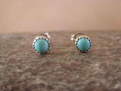 SMALL Native American Sterling Silver Turquoise Dot Post Earrings!