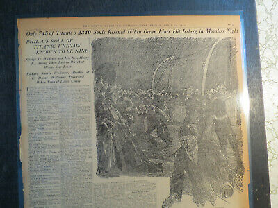 Titanic History Newspaper 1912 745 SOULS RESCUED OF 2340 ON SHIP + PHIL. ROLL