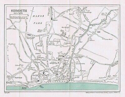 SIDMOUTH Street Plan / Map of the Town - Vintage Folding Map 1935
