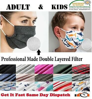 Cotton Fabric Mouth Face Mask & Filter Reusable Washable Adult Mask Wholesale UK