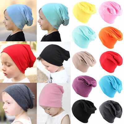 Knitted Cotton Soft Solid Color Kids Slouchy Hat Winter Warm Beanies Baby Caps