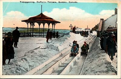1941 Postcard of Tobogganing on Dufferin Terrace in Quebec Canada Posted with 2 Cent Stamp Travel Souvenir Ephemera FREE Shipping to USA