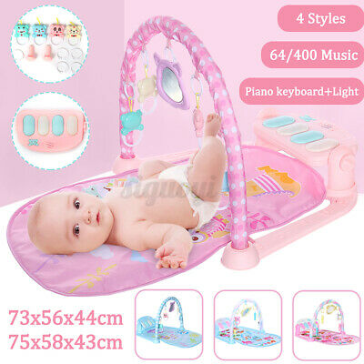3-in-1 Baby Music Gym Play Mat Lay Fitness Fun Light Boy Girl Piano Toy