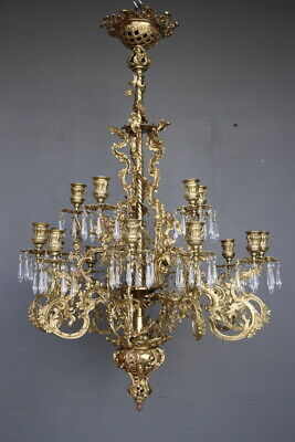 Rare antique French gilt bronze Chandelier circa 1850 original gold gilt ormolu