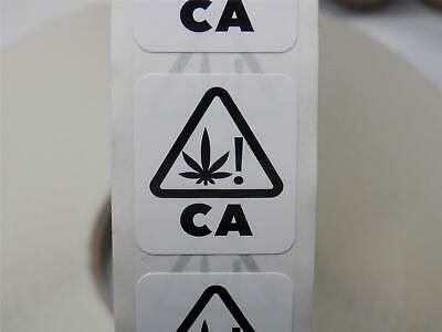 CALIFORNIA UNIVERSAL CANNABIS SYMBOL 1X1.125 White bkgd Sticker Label 100/rl