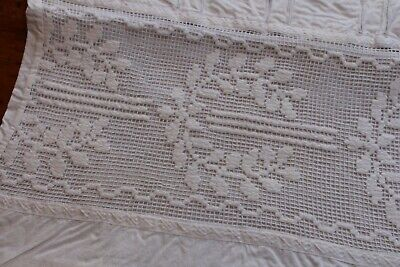 Vintage Snowy White Cotton Pillow Covers 16x21 Inset Embroidery on Net Ribbon
