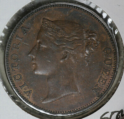 1845 Straits Settlements One Cent Coin - British Queen Victoria - XF/AU