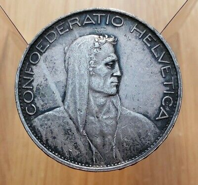 1925 B Switzerland 5 Francs Large World Silver Coin--William Tell
