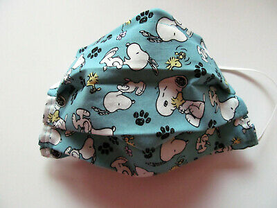 SNOOPY Design Face Mask w/Filter Pocket Washable Reusable Cotton Fabric Adult