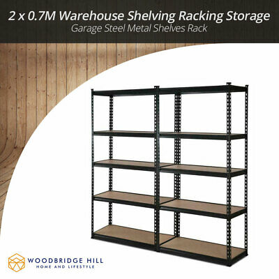 2 x 0.7M Warehouse Shelving Racking Storage Garage Steel Metal Shelves Rack