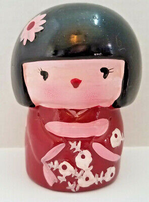 Greenbrier International Vintage Ceramic Coin Bank Japanese Kimono Geisha Girl