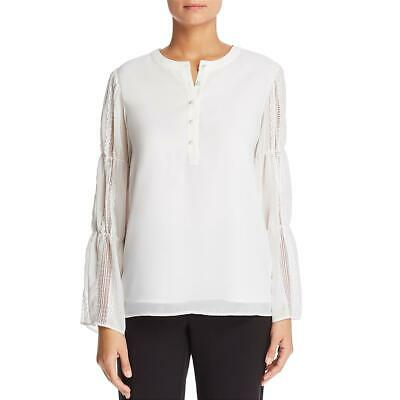Karl Lagerfeld Womens White Lace Inset Bell Sleeves Blouse Top L BHFO 6318