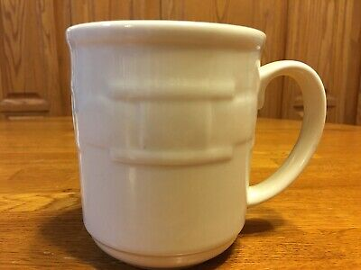 Longaberger Pottery Woven Traditions 2 IVORY SQUARE Coffee Mugs Cups 12oz