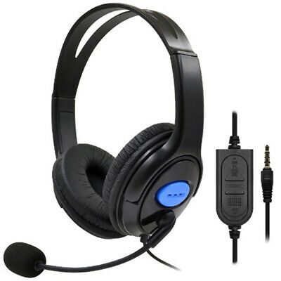 Stereo Headphones Earphone For PS4 Wired Gaming Headset With Microphone UK Stock