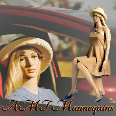 Female mannequin +pedestal, car show full body girl manikin Sitting F6+ 2Wigs