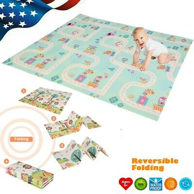 Foldable Play Mat – Large Tummy Time Folding Reversible Baby Mats For Playroom