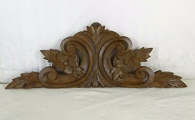 """14""""  Antique French Hand Carved Wood Oak Pediment - Flowers"""