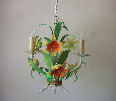 Antique Vintage French painted tole ware 3 branch chandelier with flowers