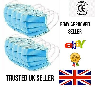 50 -100 - 1000 3-ply Disposable Medical 3 Ply Face Mask Mouth Guard Protection