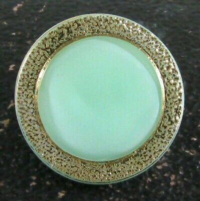 Vintage Mint Green Uranium Glass Moonglow Button, Gold Luster Border