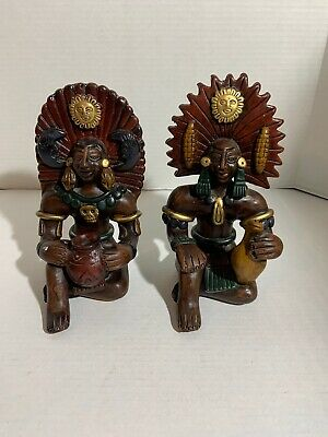 "Vintage Aztec Mayan Statue Red Clay Hand Painted 9"" tall"