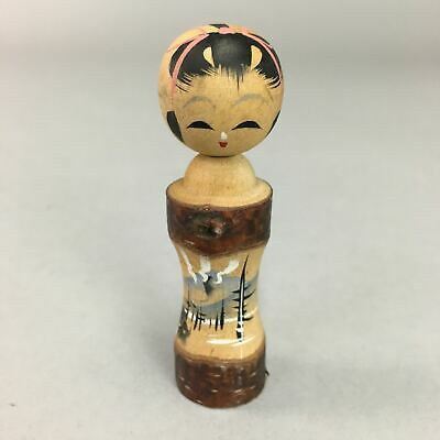 Japanese Kokeshi Doll Vtg Wooden Figurine Landscape Mountain Girl KF340