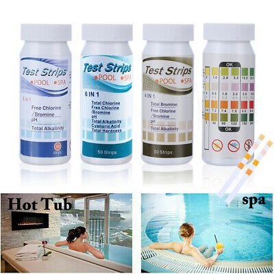 50X 6 In1 Swimming Pool PH Test Paper SPA Test Strips Chlorine PH Tester Paper