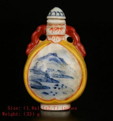 Chinese Porcelain Snuff Bottle Painting Landscape Crafts Christma