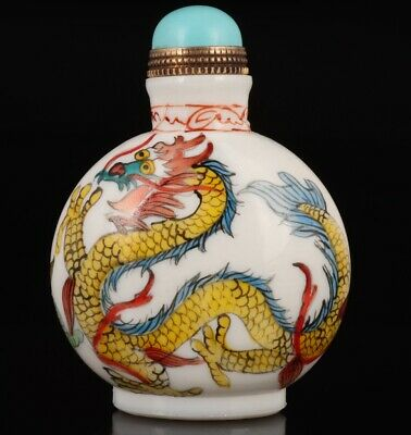 Coloured Glaze Snuff Bottle Statue Hand-Painted Dragon Mascot Gift
