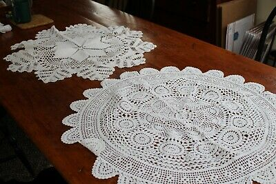 """Vintage 2 Large Snowy White Hand Crocheted Round Doilies 27"""" & 29"""""""