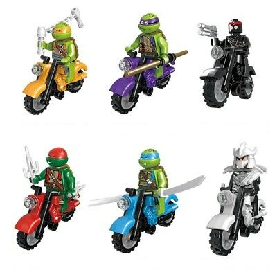 Lot 6 figurines Tortues Ninja à Moto figures blocks compatible lego