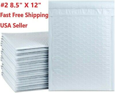"""#2 8.5"""" X 12""""White Padded Envelopes Water Proof Poly Bubble Mailers Self Sealing"""